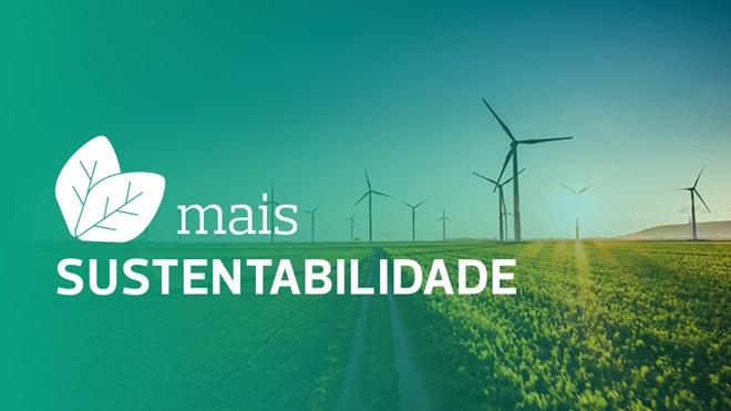 cartaz com eólicas a anunciar mais sustentabilidade