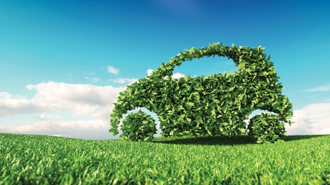Carro feito de folhas verdes em cima de um relvado