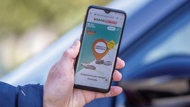 portal mais mobilidade carro com desconto no ecrã do telemóvel