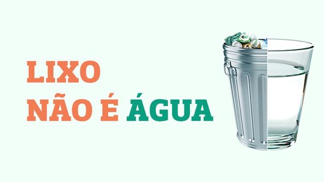 ilustração de copo de água com caixote de lixo