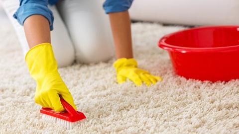 Mulher com luvas amarelas a lavar carpete com produtos de limpeza de carpetes e tapetes