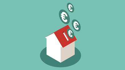 ilustração de casa para campanha pague menos IMI