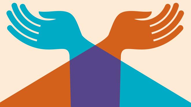 ilustração com duas mãos que simbolizam o donativo relativo à consignação de 0,5% do IRS