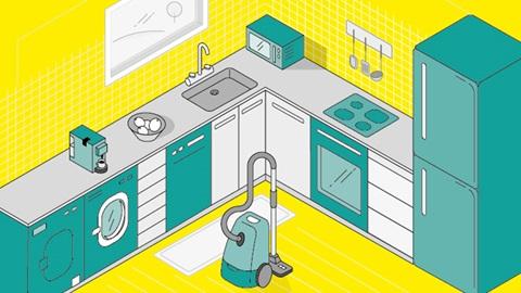 cozinha interativa com máquina de secar, máquina de lavar roupa, máquina de café, máquina de lavar loiça, aspirador, microondas, placa de indução, forno e frigorífico
