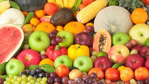 Detalhe de um conjunto variado e colorido de frutos, legumes e leguminosas, que incui: melão, melancia, meloa, maçãs, laranjas, uma maçaroca de milho, uvas, pimentos e tomates, entre outros.