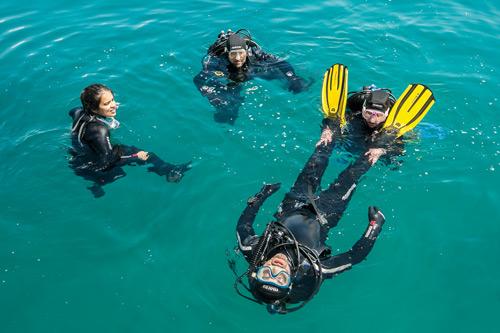 Mar: a uma profundidade reduzida (10 a 12 metros) repetem-se exercícios feitos na piscina.