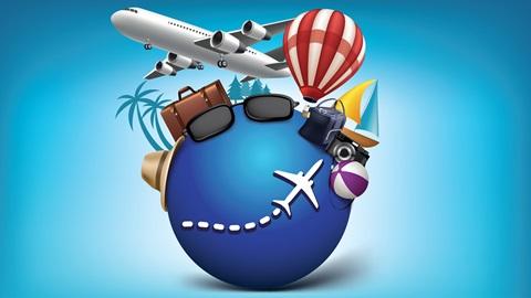 Imagem com um globo rodeado por um avião, malas de viagem, palmeiras, barco, óculos de sol e máquina fotográfica.