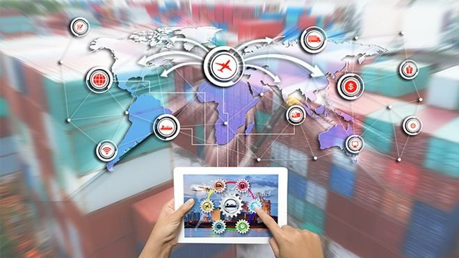 mapa mundial com setas que ilustram trocas comerciais