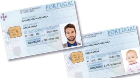 Dois exemplos de cartão de cidadão