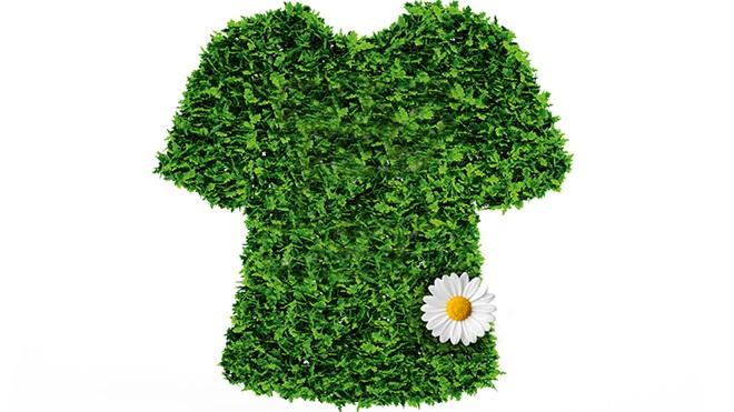 Ilustração de t-shirt com relva a simbolizar roupa sustentável