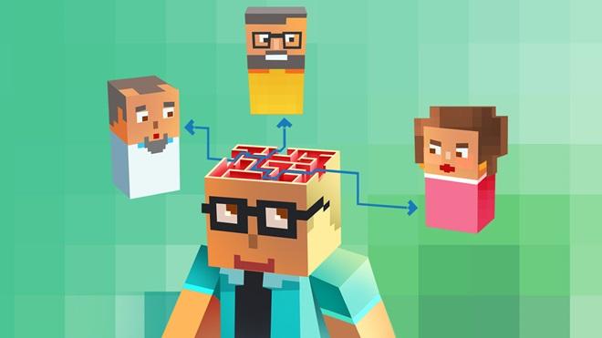 Ilustração com quatro bonecos sobre o que pensam os consumidores sobre hábitos de compras