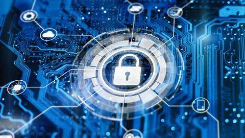 Imagem de cadeado branco em ambiente virtual a simbolizar a segurança no ciberespaço