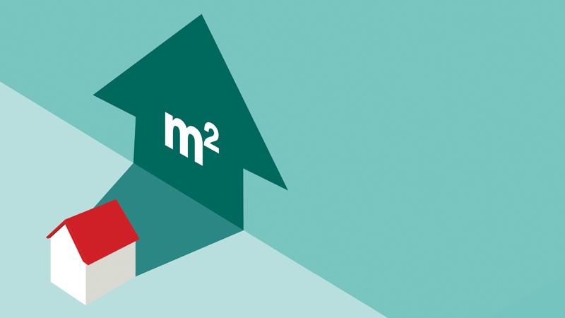 Casa com o símbolo do metro quadrado