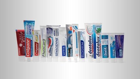 conjunto de pastas de dentes branqueadoras