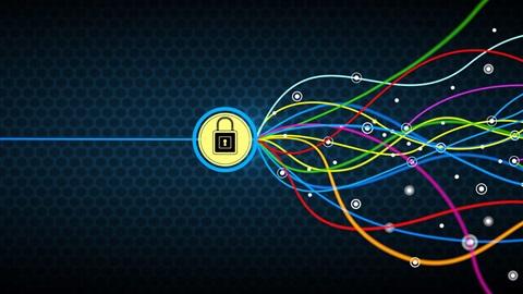 Desenho com um fundo azul-escuro, repleto de hexágonos. Ao centro, um círculo amarelo, com um contorno azul-claro, e um cadeado no centro. Do lado direito, várias linhas coloridas e onduladas ligam-se ao cadeado, aludindo aos ataques ao computador. Do lado esquerdo, uma única linha direita, azul-clara, também ligada ao cadeado, alusiva ao controlo sobre os ataques que um antivírus permite.