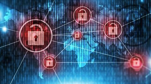Cadeados encarnados em cima de um mapa mundo azul a representar a segurança na internet