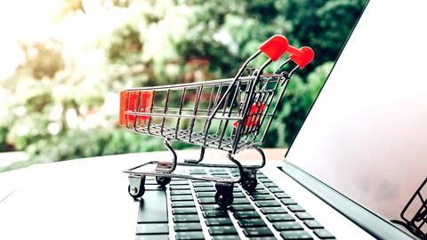 Computador portátil e carrinho de compras