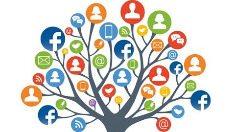 Desenho de árvore com símbolos do Facebook
