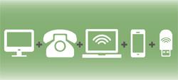 ícones de televisão, telefone, Internet, telemóvel e Internet móvel