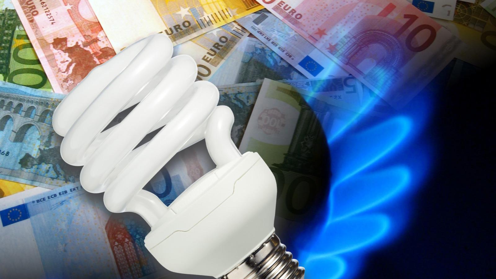 Imagem com lâmpada economizadora, chama de bico de gás e notas de euros