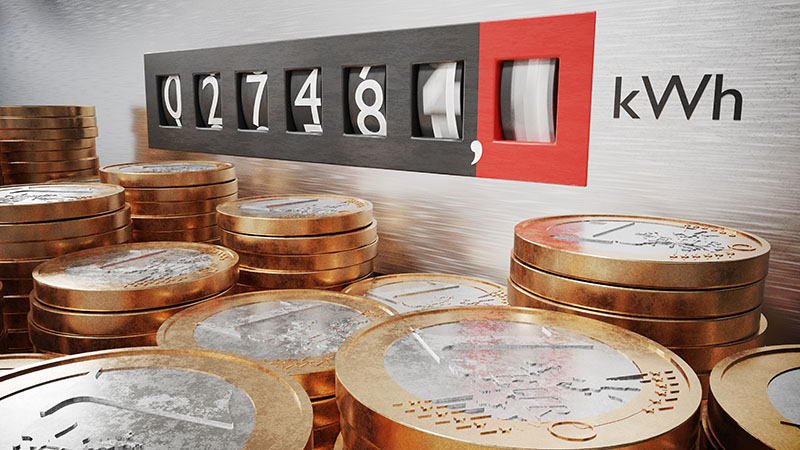 contador da luz rodeado por moedas