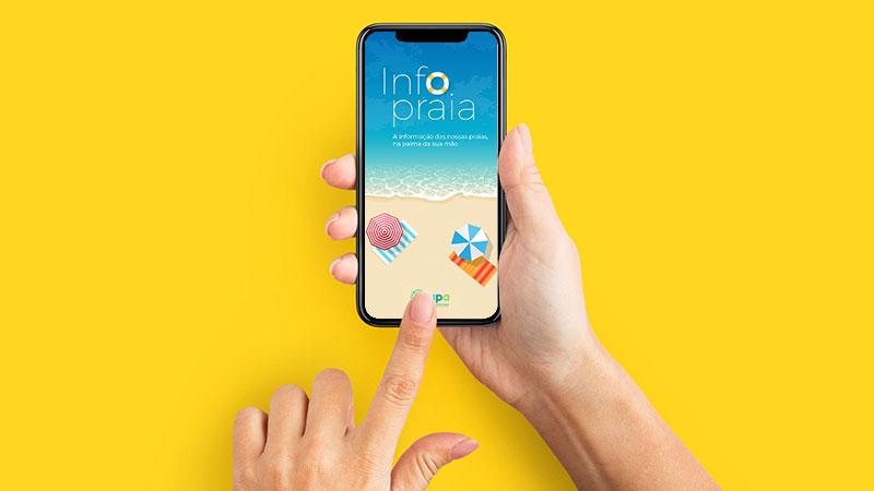 telemóvel com app info praia