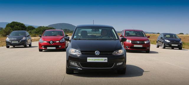 Renault Clio, VW Polo, Peugeot 208, Ford Fiesta e Dacia Sandero